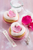 Pistachio and rose cupcakes decorated with hearts