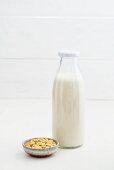 Soya milk in a glass bottle