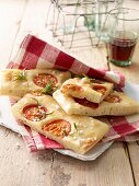 Focaccia with tomatoes, rosemary and salt