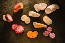 Various types of vegetables for vegetable crisps
