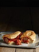 A meatball sub with tomato sauce