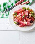 Watermelon salad with Parma ham, feta and balsamic vinegar dressing