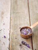 Lavender petals in a measuring cup