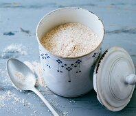 A dark flour mixture made from buckwheat, millet, tapioca and teff flour