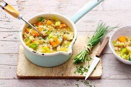 Vegetarian barley stew with turnips