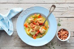 Stew with potatoes, North Sea fish and shrimps
