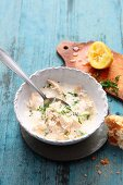 Greek chicken soup with lemon and rice