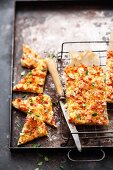 Baked cheese corners with ham and hazelnuts