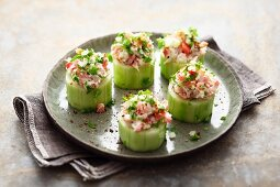 Cucumber slices filled with smoked mackerel