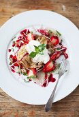 Lavender pancakes with rose jam, strawberries, Greek yoghurt and mint