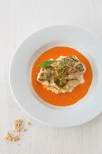 Zander fillet on creamy cabbage in a pepper sauce