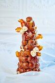 A caramel croquembouche (France)