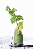 A vegetable smoothie with avocado, celery and iceberg lettuce