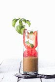 A tomato, pepper and basil smoothie