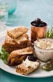 Smoked mackerel paste with sesame seed French toast and cherry compote