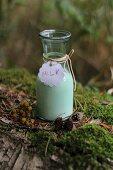 A bottle of milk on a log