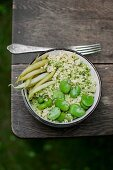 Millet with basil pesto, broad beans and wax beans