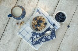 A healthy breakfast: muesli with milk and fresh blueberries (seen from above)