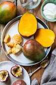 Ingredients for mango, passion fruit and yoghurt gratin