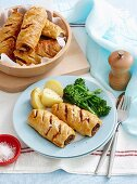 Beef, bacon and pea sausage roll