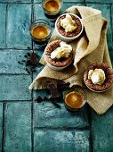 Chocolate cakes with liquid centres served with coffee