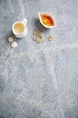 Sugar glaze and clementine zest