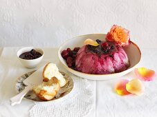 Bread pudding with berries and rose water