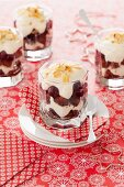 Mini trifles with cherries and flaked almonds for Christmas