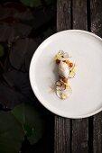 Dessert: Hazelnut, parsnip, dandelions and truffles from the restaurant Saziani Stub'n, Styria, Austria