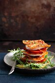 Crispy lasagne with plums, bacon and goat's cheese