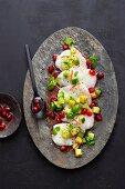 Oriental monkfish carpaccio with pomegranate seeds and avocado