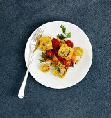 Mushroom and polenta cubes with parsley, caramelised cherry tomatoes and caraway seeds