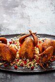 Spiced quails on a bed of pomegranate and pine nut couscous