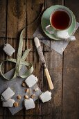 Homemade macadamia nut nougat and a cup of tea