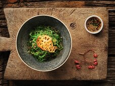 Thai seaweed salad with sesame seeds and lotus roots