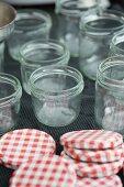 Open jam jars with lids
