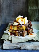Bread and butter pudding with banana and butterscotch