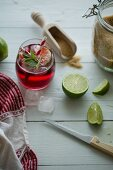 Belgian cherry beer with lime, mint and brown sugar