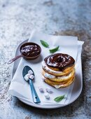 French toast with a marshmallow filling and chocolate glaze