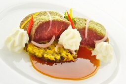 Lamb sirloin with a herb crust