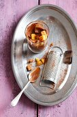 Chocolate mousse with biscuits and persimmons