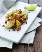 Oven-roasted potatoes with dill and limes