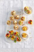 Various spicy tartlets for a Christmas party