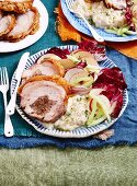 Walnut and fig roast pork with cauliflower mash