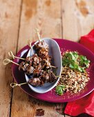 Ostrich skewers with dukkah