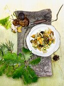 Autumnal mushroom salad with orange vinaigrette