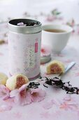 Cherry blossom tea and Japanese sweets