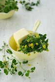 Hops clover and butter in a yellow porcelain bowl