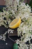 Half a lemon on a grater and elderflowers