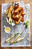 Angelfish goujons with asparagus in filo pastry with Hollandaise sauce